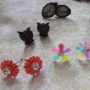 Large lot of stud earrings